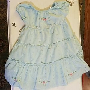 Little Bitty blue dress with roses 3t